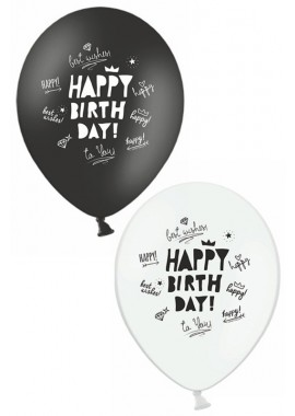 Ballon zwart wit Happy Birthday , 6st